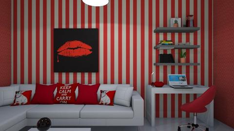 sala roja - Living room  - by clasesytutorias