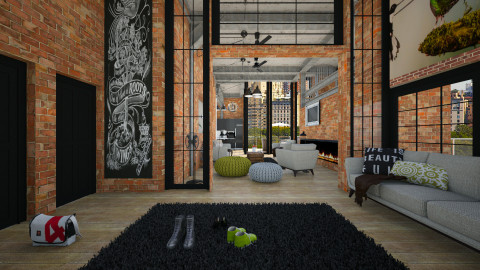 industrial house - Modern - Living room  - by Evangeline_The_Unicorn