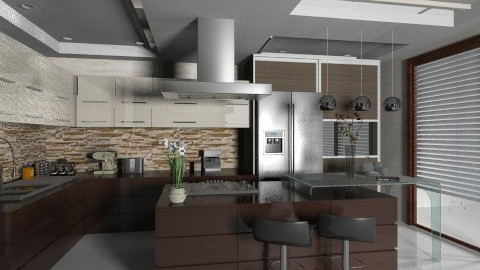 Wood and Stainyy - Modern - Kitchen  - by Firuza Eva