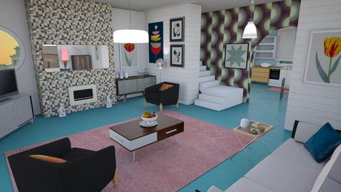 Painted floor - Retro - Living room - by augustmoon