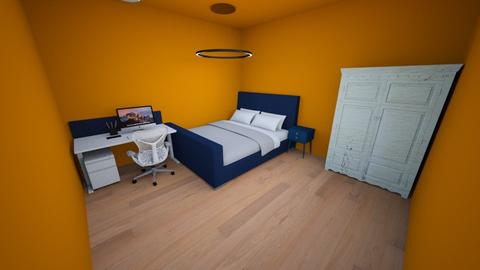 orange and blue bedroom - Country - Bedroom  - by the ice magical unicorn