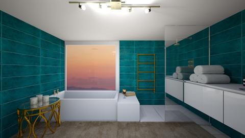 turquoise and metal bathr - Bathroom - by tr3w4nn4