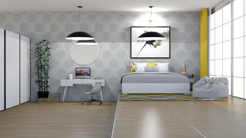 Yellow And Grey - Bedroom  - by Gouri Renjith