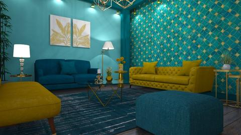 green blue living - Living room - by mari mar