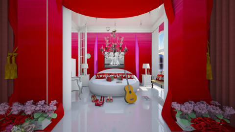 red ombre heaven - Classic - Bedroom - by Evangeline_The_Unicorn