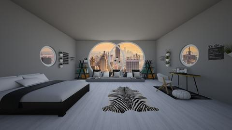 black and white bedroom  - Modern - Bedroom  - by NEVERQUITDESIGNIT