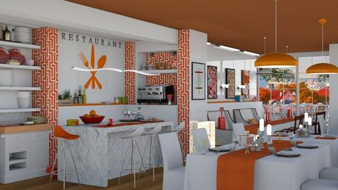 orange white restaurant - by nat mi