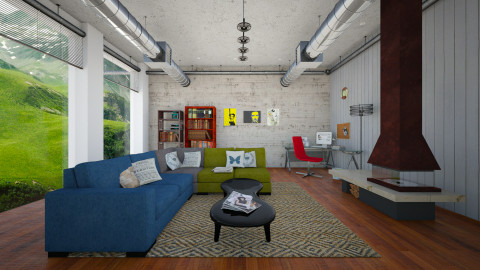 industrial home - Vintage - Living room  - by Vivi fauziaah