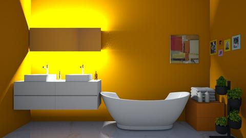 Orange and White Bathroom - Modern - Bathroom  - by Charginghawks