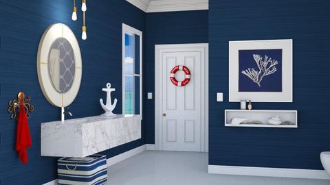 Nautical Navy - Bathroom  - by yonvie