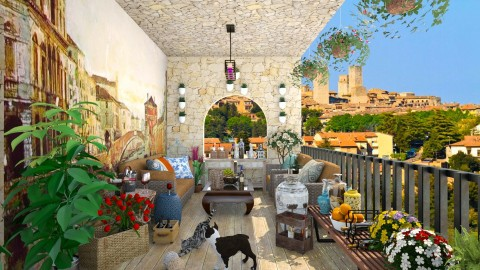 Wine Tasting in an Italian Terrace - Country - Garden - by creativediva