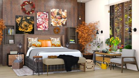 Autumn Bedroom - Rustic - Bedroom  - by M i n h  T a m