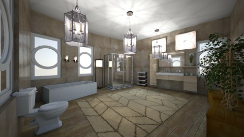 sandy tile bathroom - Glamour - Bathroom  - by kla