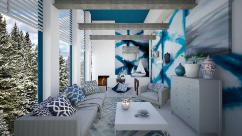 KK1615 Blue Shibori  - Classic - Living room  - by KK1615