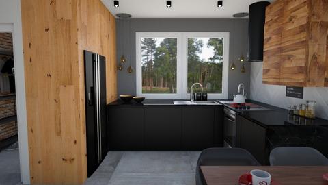 kitchen with wood - Kitchen  - by ewcia3666