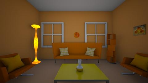 orange living room - Living room  - by AddiC