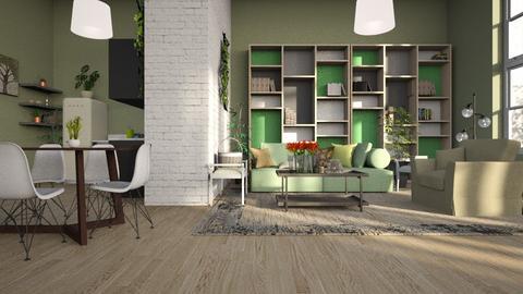 Green - Living room - by ZuzanaDesign