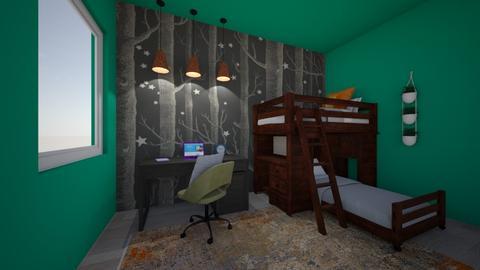 jungle charcol tetradic  - Bedroom  - by reena_loughery