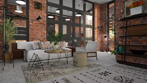 Industrial Loft - Living room  - by ZuzanaDesign