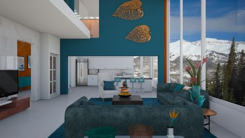 Turquoise and Metal - Living room - by yonvie