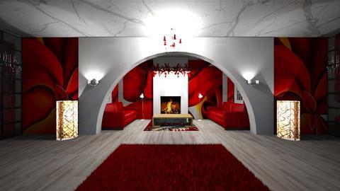 red living room - Living room - by seasidestarfish