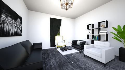 blacknwhitelivingroom - Living room - by Emma_04