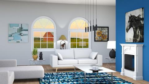 navy living room  - by HorseGirl_E09