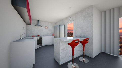 modern red  - Kitchen  - by Dominisiaa55555