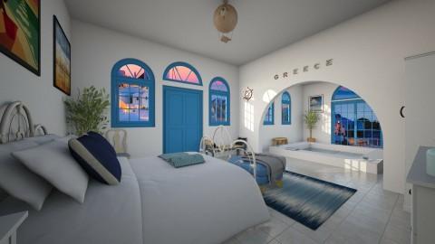 Vacation in Santorini - Bedroom - by saraellex