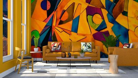 Orange Geometric - Modern - Living room  - by millerfam