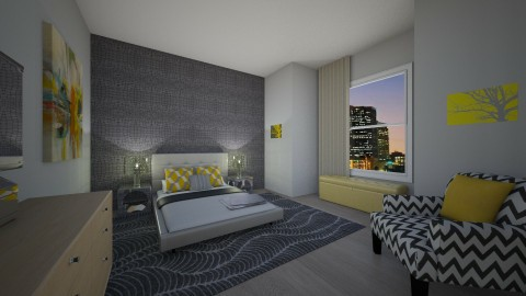 gray and yellow - Bedroom - by kck22