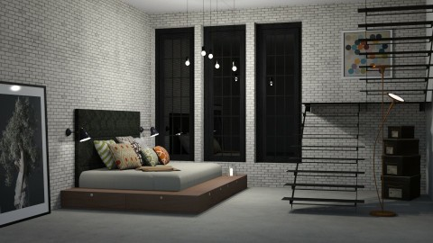 Loft - Minimal - Bedroom  - by Katie Whitley