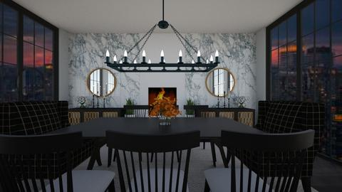 black and white  - Dining room  - by graciecbogardus