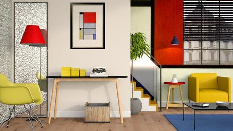 Thinking of Piet Mondrian - Minimal - Living room  - by Sally Simpson
