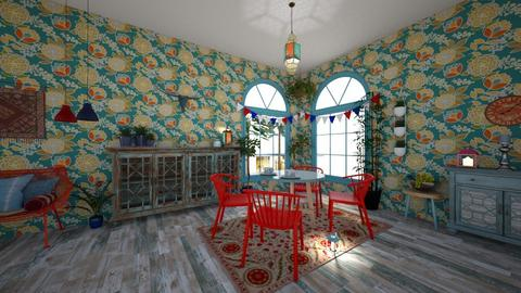 red chairs blue tables - Dining room - by Phoenix_shruti