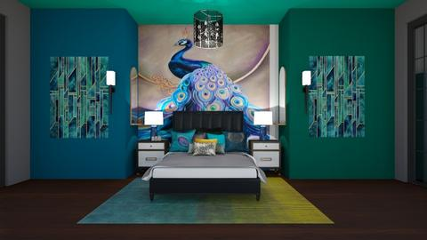 Peacock in the city - Bedroom  - by fashiondesigner7