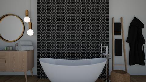 Black and wood bathroom - Bathroom  - by KittyKat28