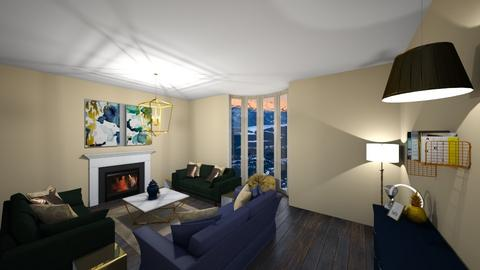 Navy and Green Living - Living room  - by Dwibby46