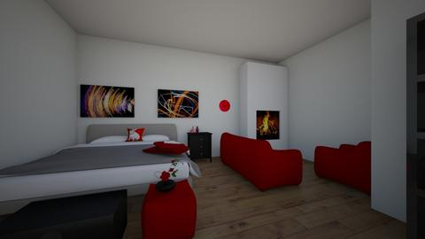 Glamour red bedroom - Glamour - Bedroom  - by AJLoveDesigns