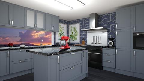 navy kitchen - Kitchen  - by Corzer