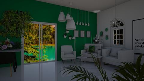Emerald Living by Night - Living room  - by rubbaduk_