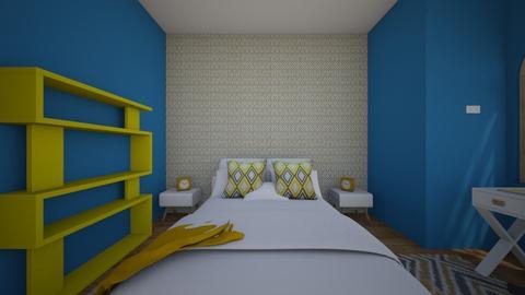 turquoise yellow modern - Bedroom  - by tsvikaluli