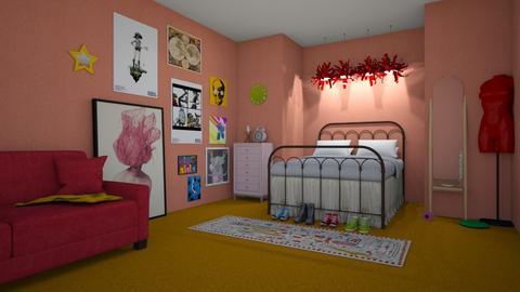 watermelon room - Retro - Bedroom  - by Bethany Payne