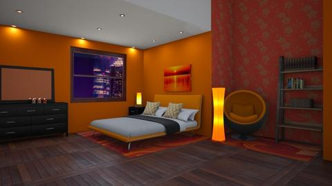 Orange bedroom - Minimal - Bedroom  - by designkitty31