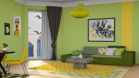 green and yellow - Living room - by its_eima