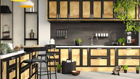 Black and Gold Kitchen2 - Kitchen - by ArtHousedeco