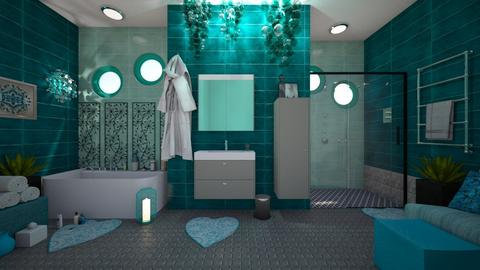 Turquoise Metal Bath - Glamour - Bathroom - by Irishrose58