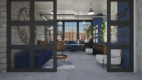 Industrial Blue Office - Modern - Office  - by crosette