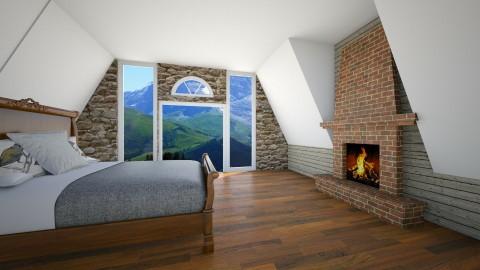Cabin Bedroom - Bedroom - by Julieisawesome