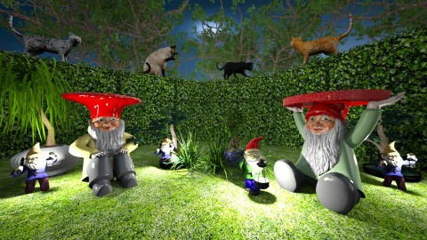 M_Garden gnome and cats - Eclectic - by milyca8
